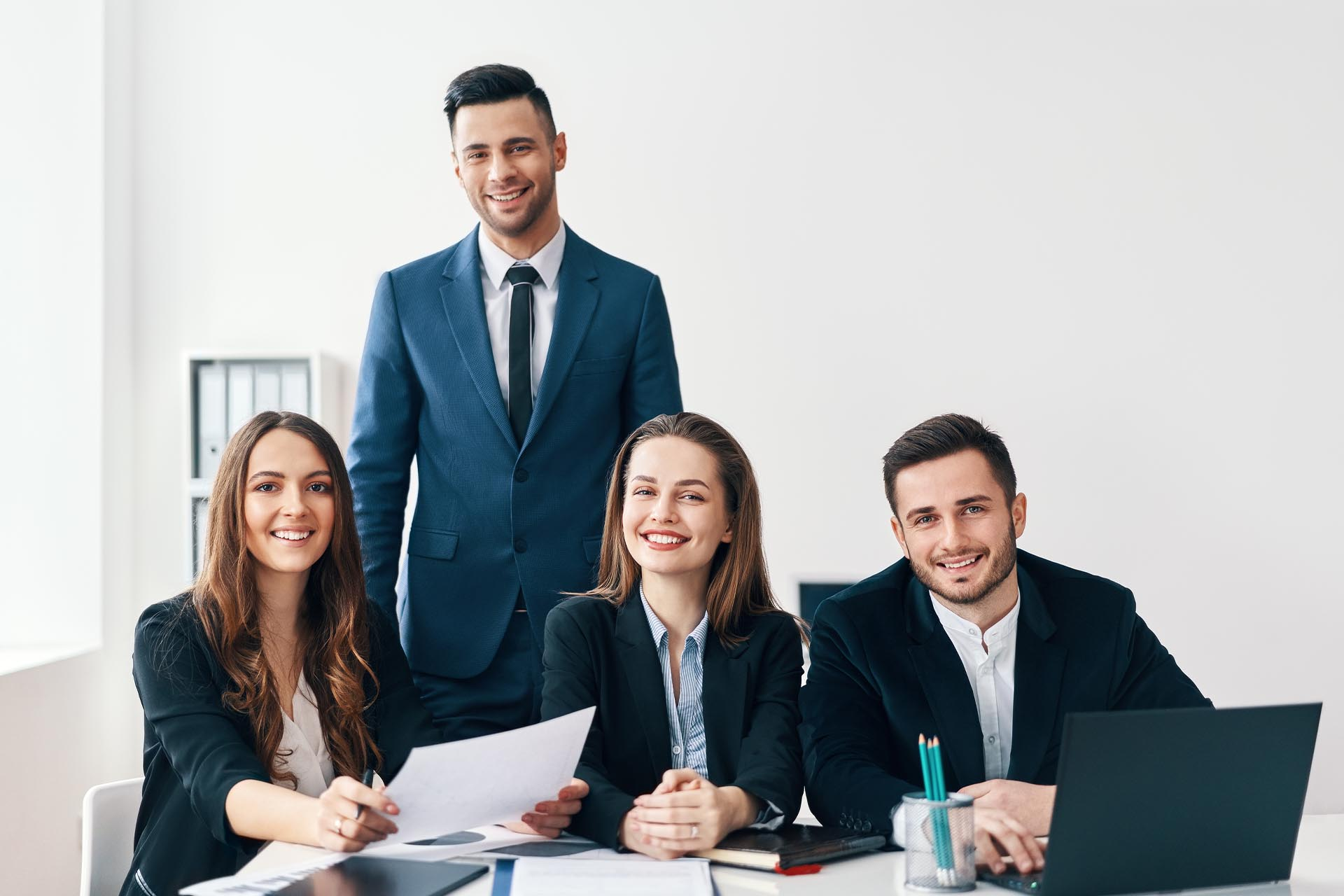 Group of smiling coworkers